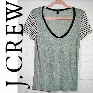 J CREW GRAY T SHIRT STRIPED SLEEVES SIZE SMALL